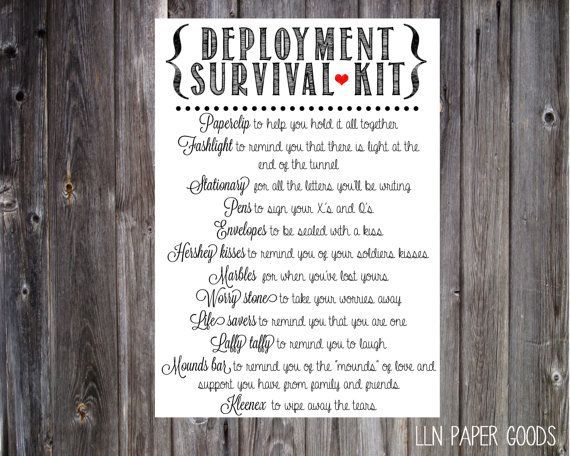 Deployment Survival Kit 5x7 Instant Download by llnpapergoods, $5.00