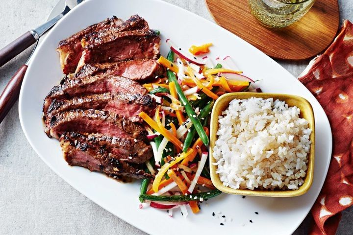 Miso steaks with warm mirin slaw and sushi rice