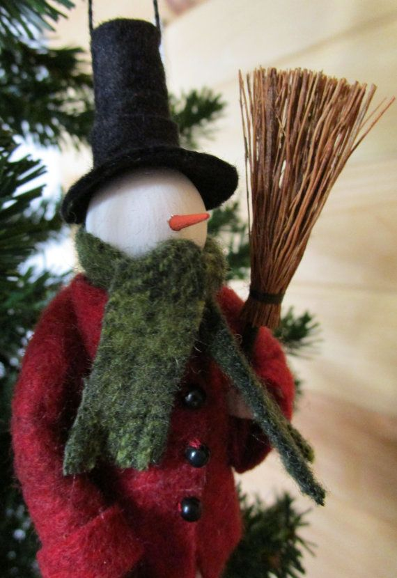 Dressed Warm Snowman Christmas Ornament by ModerationCorner