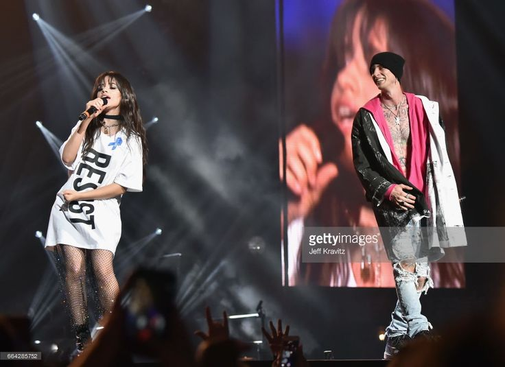 Camila Cabello (L) and Machine Gun Kelly perform onstage at WELCOME! - Fundraising Concert Benefiting The ACLU presented by Zedd at Staples Center on April 3, 2017 in Los Angeles, California.