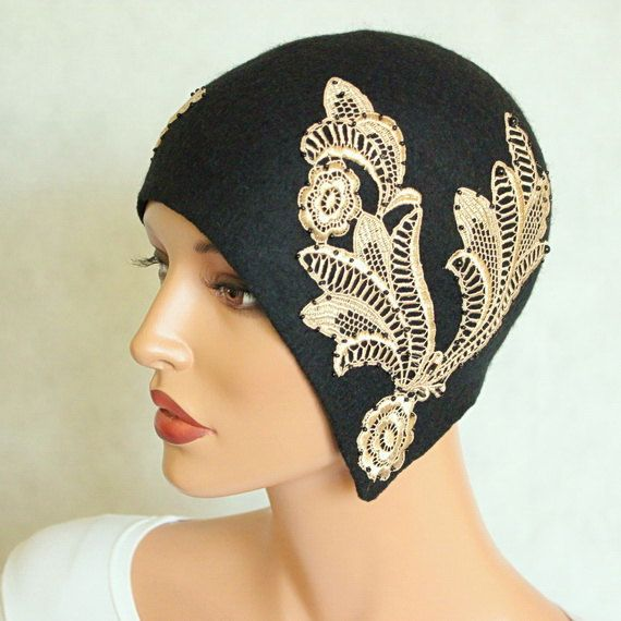 Black hat decorated with venice lace Felted hat Felt by ZiemskaArt