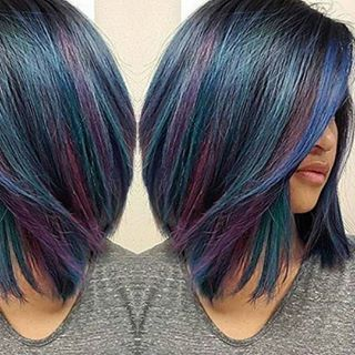 blue and purple striped hair