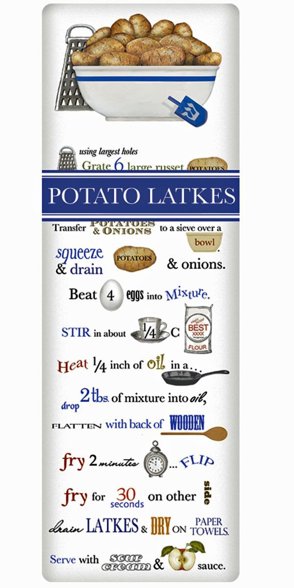 We treasure the recipe dish towel! Discover flour sack towels for every cook's decor and holidays. This one features an amazing recipe for fresh Potato Latkes.