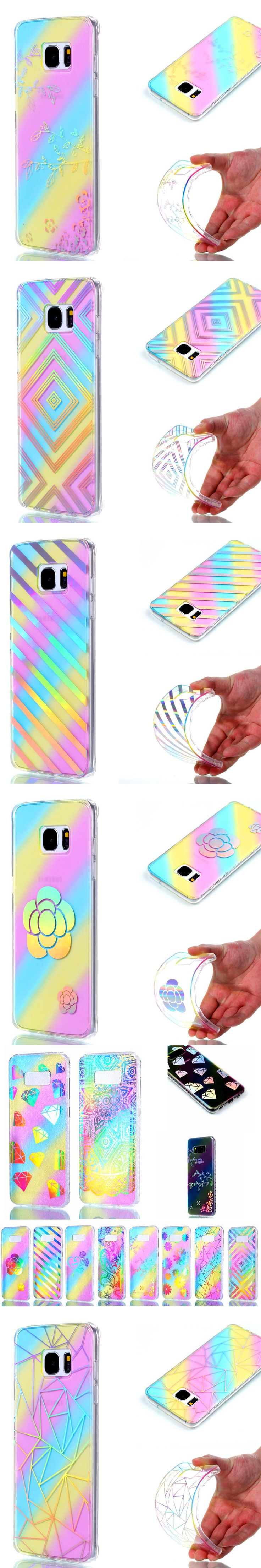 New Luxury Ultra Slim Lighting Gradient Rainbow Electroplating Soft TPU Phone Cases Cover For Samsung S7 edge S8 plus Capa