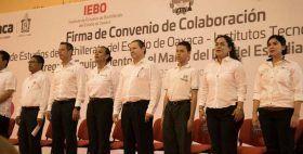 Atestigua gobernador de Oaxaca convenio de colaboración del IEBO e Institutos Tecnológicos