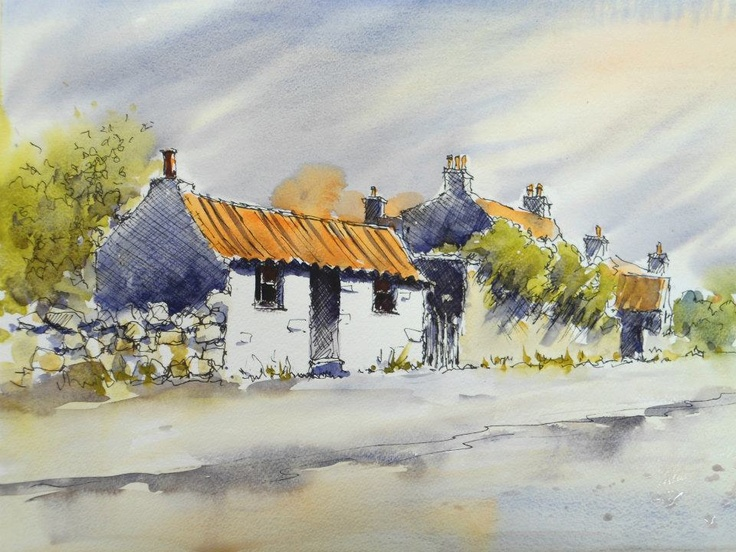 Watercolour line and wash lesson (video) by Joanne Thomas at ArtTutor.