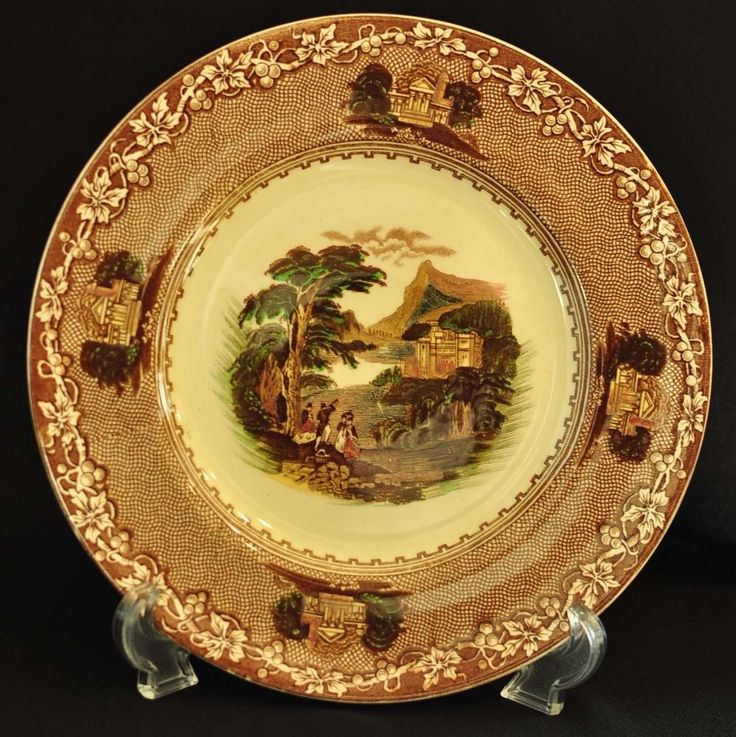 "Royal Staffordshire Pottery England Jenny Lind 1795 Brown Dinner Plate 9"" #RoyalStaffordshire"