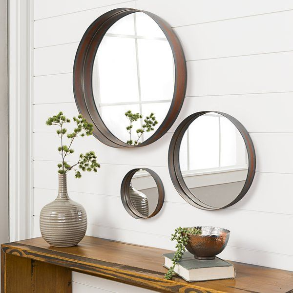 Upgrade The Style Of Any Room In Your Home With These 3 Piece Lianne Banded Accent Mirror Set This Sleek S Living Room Mirrors Mirror Decor Round Mirror Decor