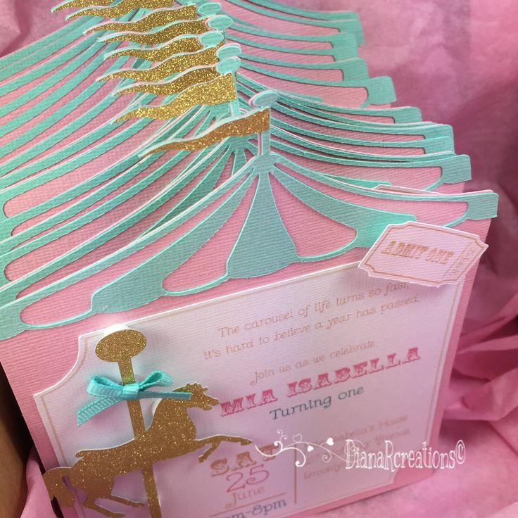 Carousel horse birthday invitations!