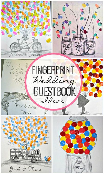 Here are a bunch of fingerprint wedding guestbook ideas for you to make! You will find balloons, trees, golf carts, fish bubbles, flowers, mason jars, and more.