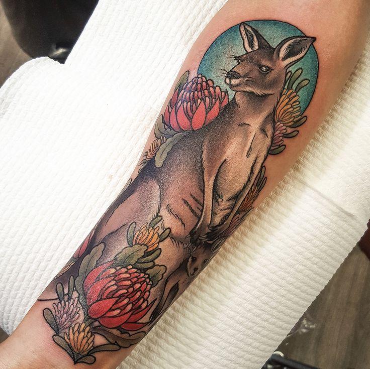 tattoos kangaroo aand joey with waratah and hakea flower australian native tattoo kangaroo. Black Bedroom Furniture Sets. Home Design Ideas