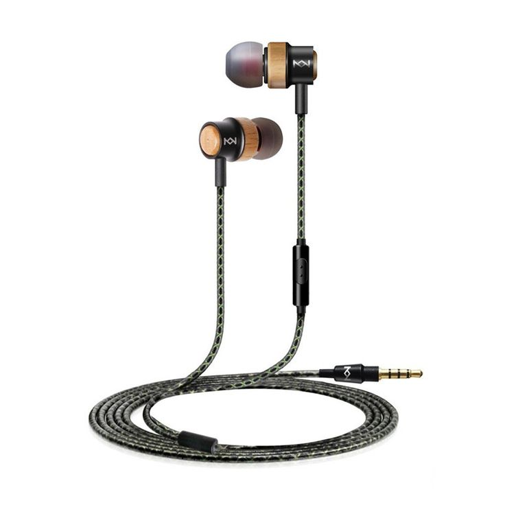 Genuine Wood and Metal In-Ear Corded Headphones Earphones Noise-isolating HIFI Earbuds with Mic and Remote Control for Cellphone