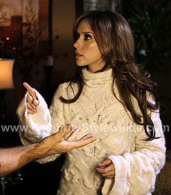Jennifer Love Hewitt - Ghost Whisperer style - Donna Karan cream cashmere cable knit sweater