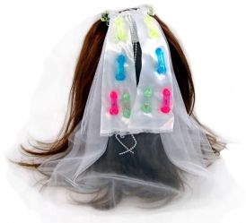 Flashing Pecker Wedding Veil: Attaches to the Bachelorette's Hair with a Cute Barette!