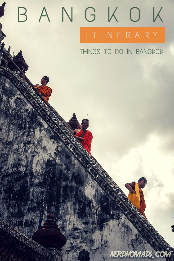 Three monks on their way down Wat Arun/ Temple Of The Dawn. Check out what else you should not miss when heading to Bangkok - Our Three Day Bangkok Itinerary: http://nerdnomads.com/what-to-do-in-bangkok
