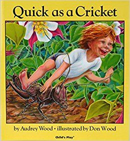 I love this book! I like to read each page, and then the children act it out (they can add bubbles). Sometimes I play the piano while they move; I improvise different styles to fit the words. If you prefer, here are some listening suggestions you can play as they move. Quick…cricket = A Cricket [Click for post]