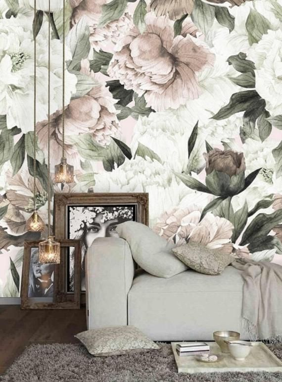 Peel And Stick Wallpaper Floral Large Floral Wallpaper Etsy Large Floral Wallpaper Peony Wallpaper Floral Wallpaper