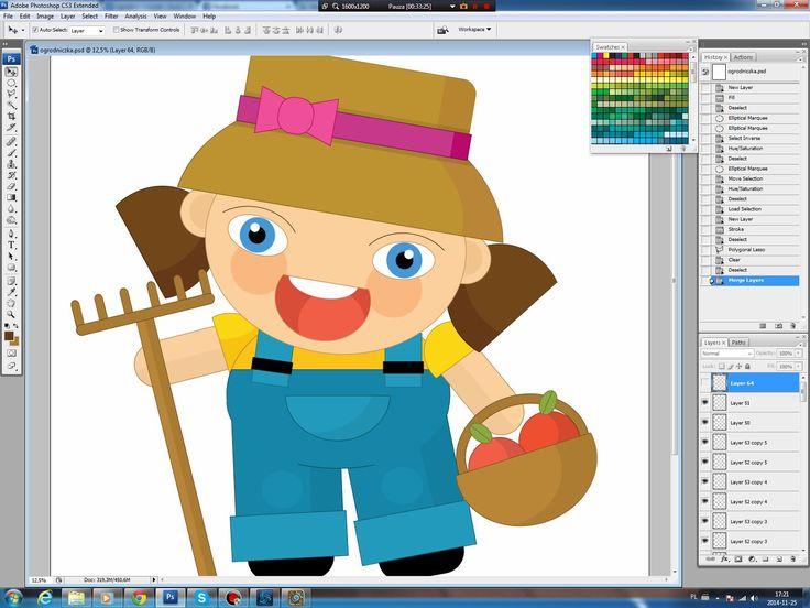 Illustrating drawing painting - how to draw cartoon gardener girl