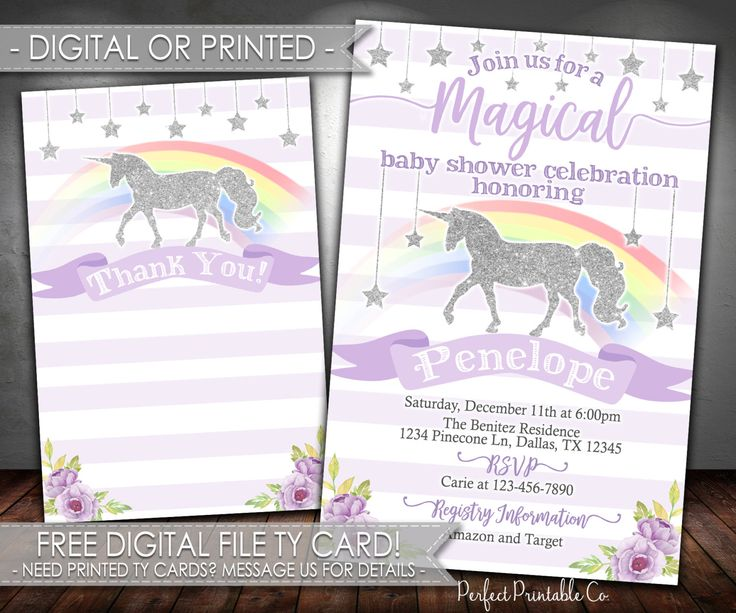 7 best unicorn party images on pinterest, Baby shower invitations