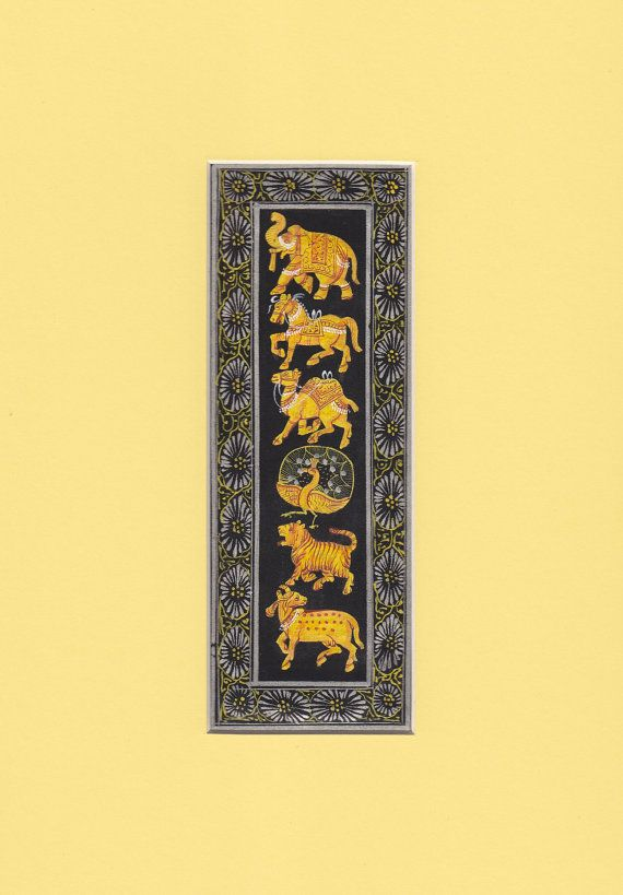 Indian animals watercolour original Indian miniature by IndianInc