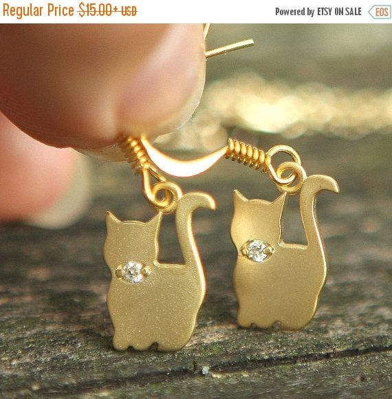 ON SALE CHRISTMAS Cute Cat Family Gold Plated by JamiesQuilting
