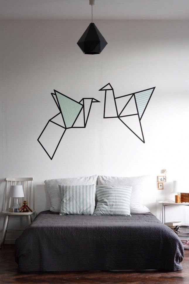 Spruce up your walls with washi tape art.
