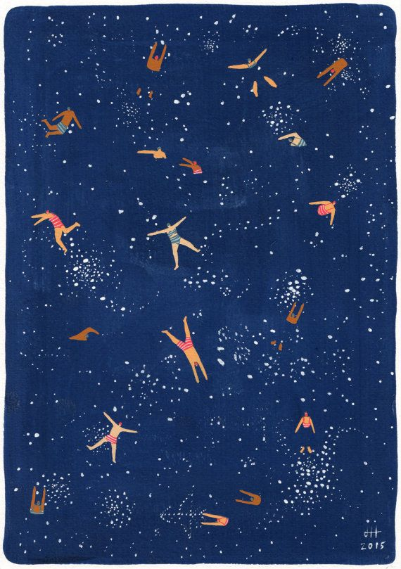 Art print of original Gouache painting by Helo Birdie - Sky swim  Approx dimensions : • Print size is 15cm x 21cm • **UPDATE** Various larger sizes now also available! (Hooray!) Please contact me if you would like a different size!  Navy blue night sky - Stars and swimming people - whimsical - home decor - For someone who loves astronomy horoscopes swimming law of attraction universe or swimwear  Print comes with card backing and inside protective cellophane sleeve. Package will be posted…