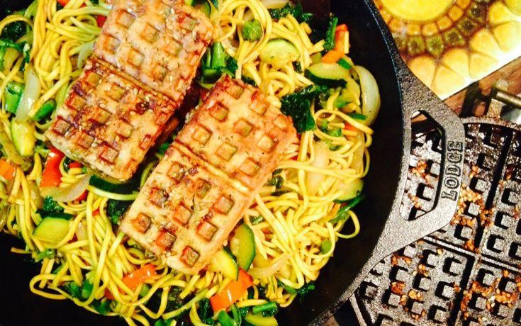 Teriyaki Style Waffle Tofu // firm tofu, soy sauce, miso paste, rice vinegar, garlic, fresh ginger, sesame seeds, maple syrup