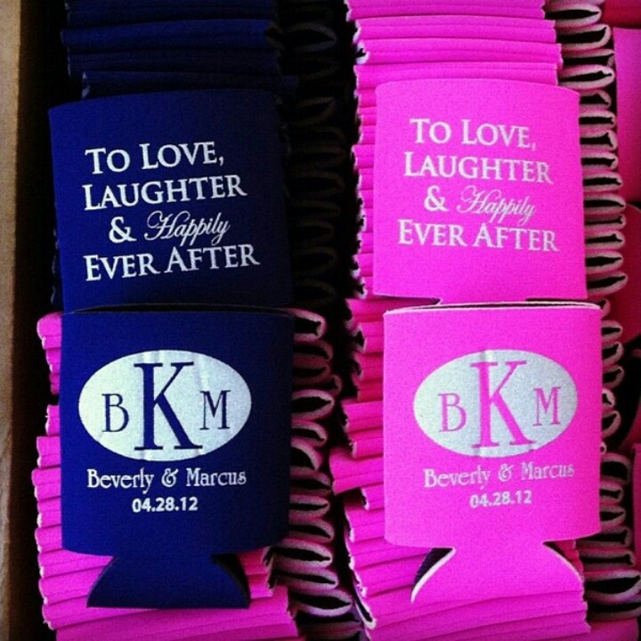 black and pink koozies beach wedding favors pinterest