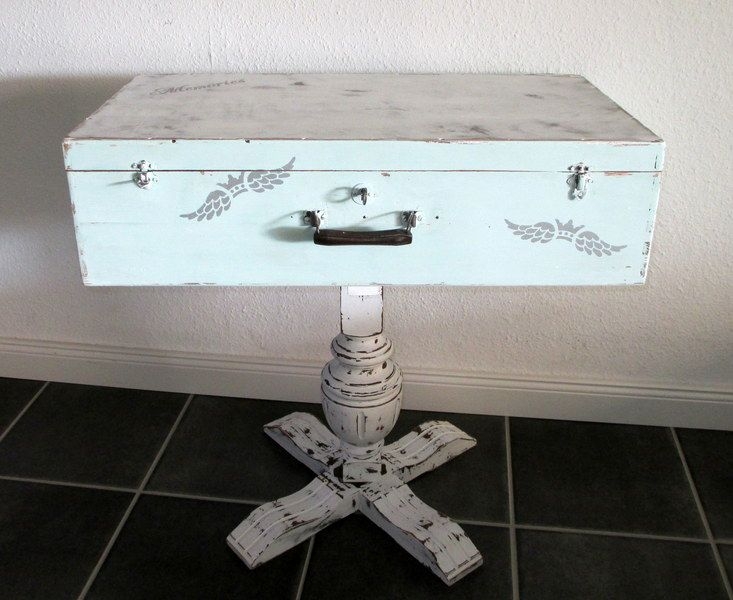Shabby Tisch Koffer Einzelstck Von Und Beton Ldchen Auf DaWanda