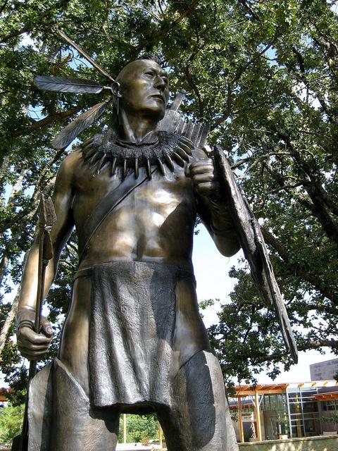 Chickasaw Warrior statue; Oklahoma via Flickr.