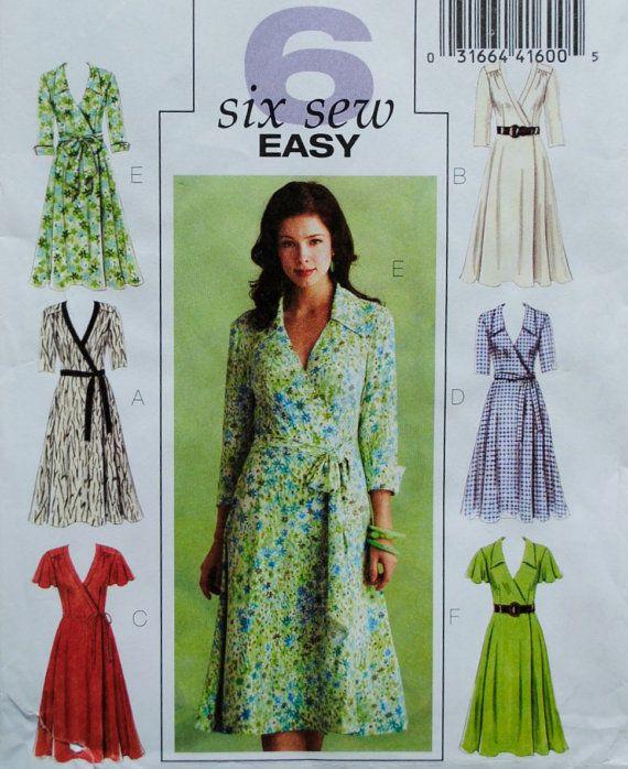 Uncut Easy Misses Flared Wrap Below Mid-Knee Long Short Cuffed Sleeve Dress Belt & Sash Plus Size 16 18 20 22 Sewing Pattern Butterick B5030