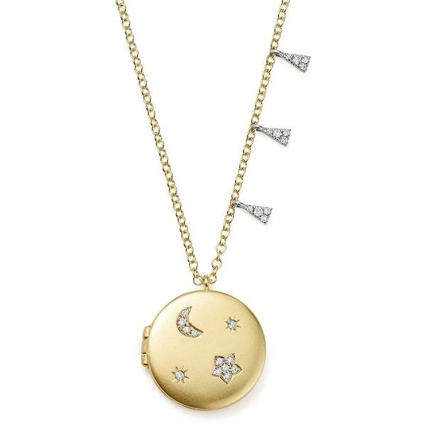 Meira T 14K White and Yellow Gold Diamond Moon and Star Locket... found on Polyvore featuring jewelry, necklaces, locket necklace, white gold locket, 14k gold necklace, star necklace and yellow gold diamond necklace