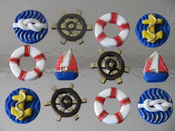 Nautical theme cupcake/cookie toppers by RinaMcakedecor on Etsy