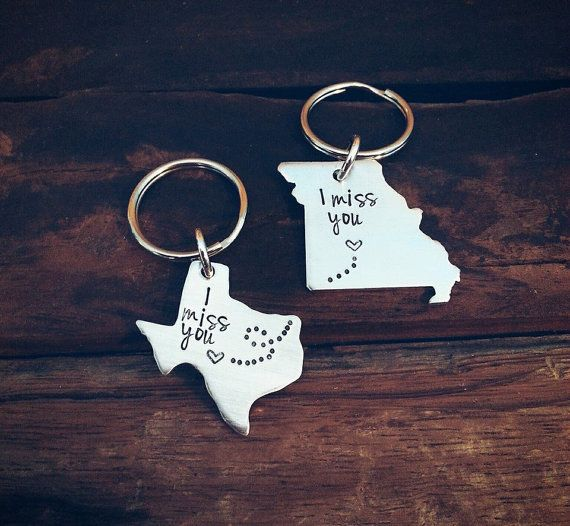 Long Distance Relationship Jewelry Keychain Set Personalized State Jewelry, His…