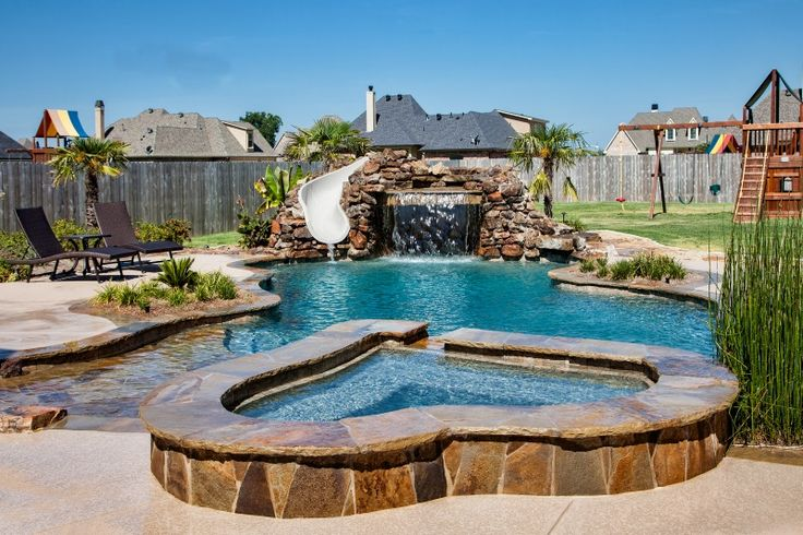 Bossier City Pool Design, Shreveport Pool Construction - natural-beach-entry-spa-boulder-waterfall-slide-grotto-firepit-pebble-sheen-blue-granite-led-get-a-way-outdoor-living-planter