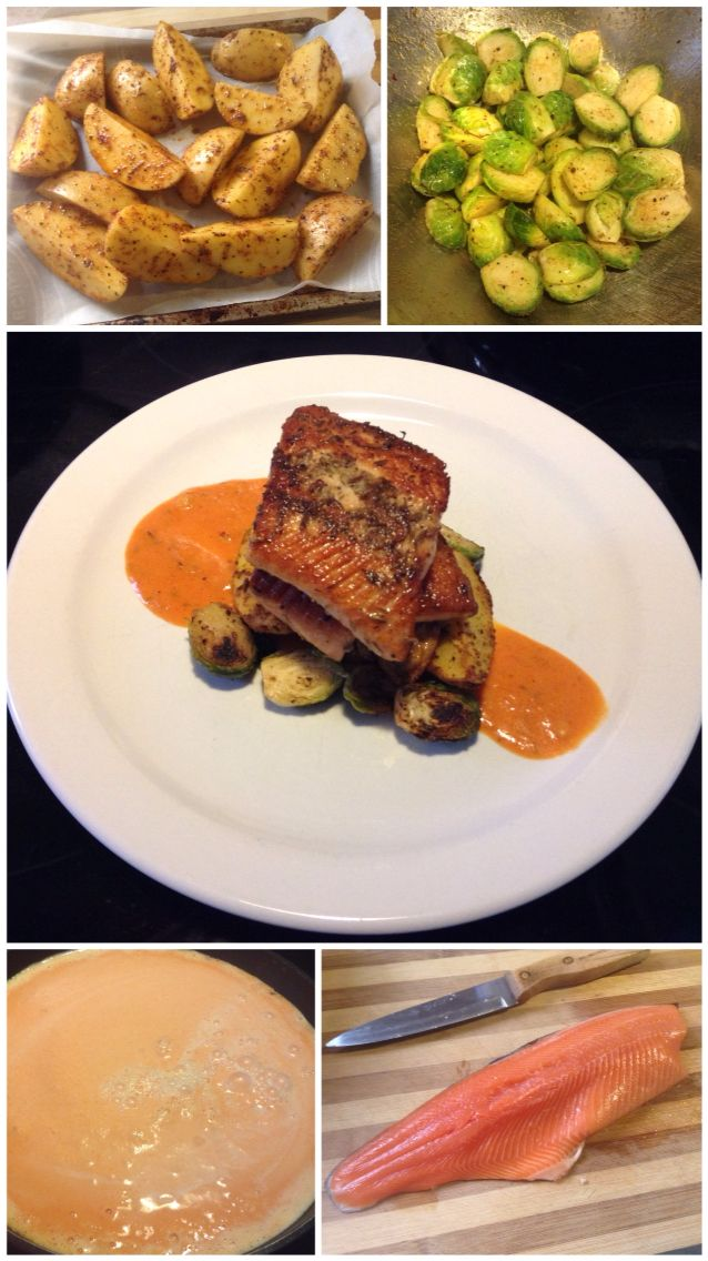 Pan Seared Fennel Seed Trout with Roasted Cajun Yukon Potato Wedges, Sautéed Brussels Sprouts & Red Pepper Garlic Cream Sauce