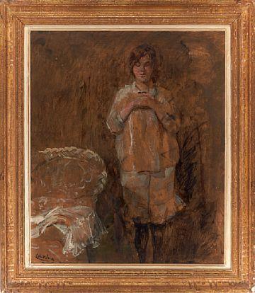 CHRISTIAN KROGH VESTRE AKER 1852 - OSLO 1925  evening Prayer  Oil on board, 50x60 cm  Signed lower left: C Krogh