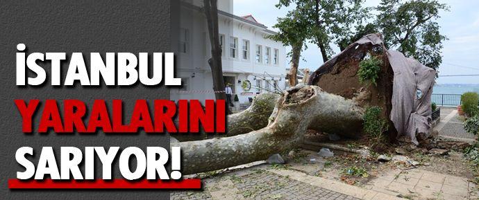 İstanbul'da dün akşam etkili olan sağanak yağış ve fırtınanın ardından hasar çalışmaları yapılıyor.