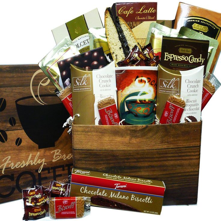 This thoughtful Care Package is a great gift box arrangement, complete with coffee mug and filled to overflowing with premium coffee and gourmet go togethers for your java loving recipient to enjoy.