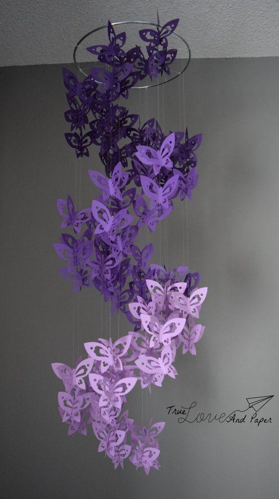Espiral de la mariposa de papel móvil Lámpara en por TrueLoveAndPaper
