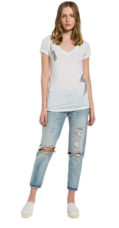Burnout T-shirt with glitter patches