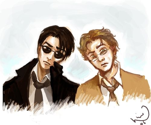 "Good Omens by Neil Gaiman and Terry Pratchett -- Image Submitted online by Linn: ""Aziraphale and Crowley going 'huh'. Actually, it's more like: Aziraphale: :-o and Crowley going: B-
