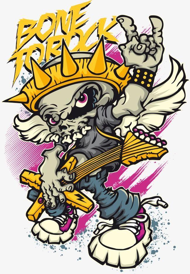 Vector Skull Rock Desain Png Vector Skull Rock Png And Vector Comic Poster Cartoon Crazy Graffiti