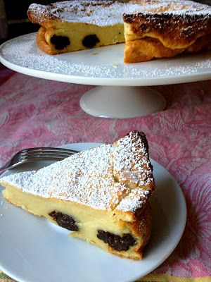 Far Breton, a flan-like dessert from the Brittany region of France, is similar to a clafoutis and has a texture more like custard than cake.