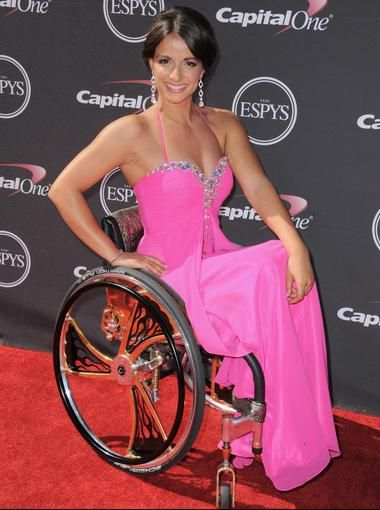 Paralympian swimmer Victoria Arlen arrives at the ESPY Awards.