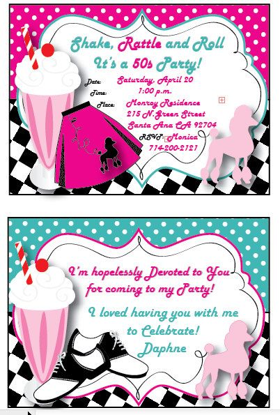 Party invitations grease party theme thank you cards 50s grease