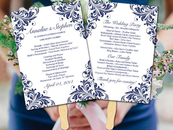 This designer fan program features the beautiful Maggie design in navy blue. Just instantly download and print your own wedding programs with this downloadable wedding program!  ▬▬▬ COLOR CHANGE ▬▬▬ Prefer this design in a different color? Do not purchase this listing. Purchase our color change listing instead: https://www.etsy.com/listing/186482391/diy-template-color-change-request (purchase ONLY the color change listing)  ▬▬▬▬▬▬▬▬▬▬ PRINTING ▬▬▬▬▬▬▬▬▬▬ Dont want to ...