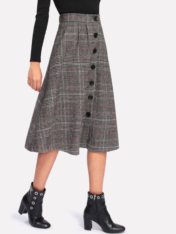 Wales Check Single Breasted Skirt -SheIn(Sheinside)
