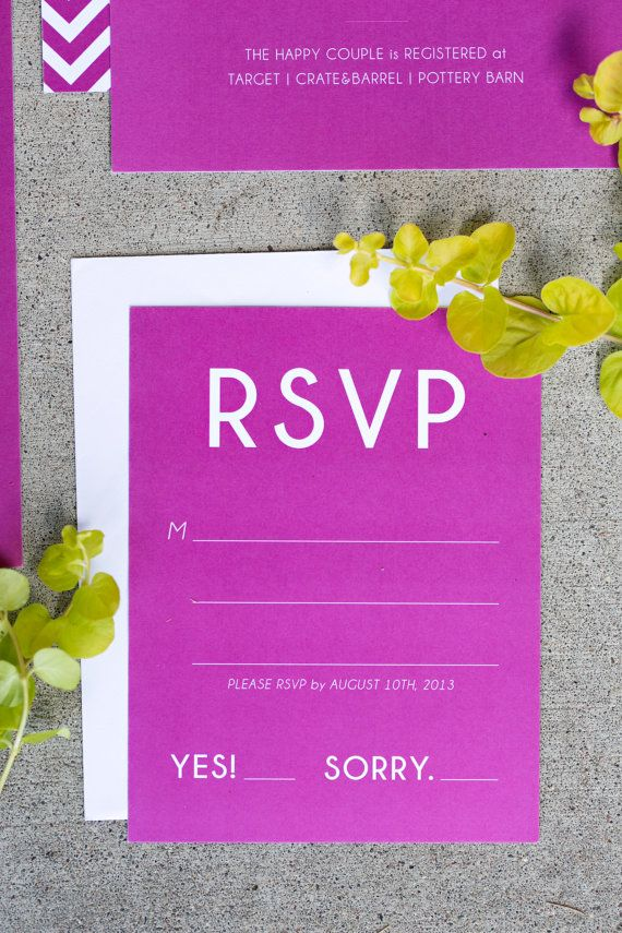 Radiant Orchid Wedding Invitation Suite by invitationpost on Etsy